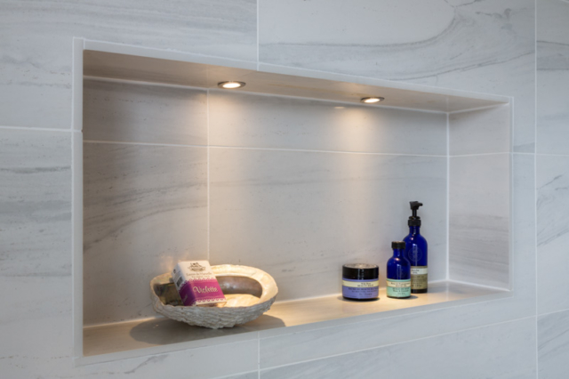 Bathroom, LED lights illuminating niche
