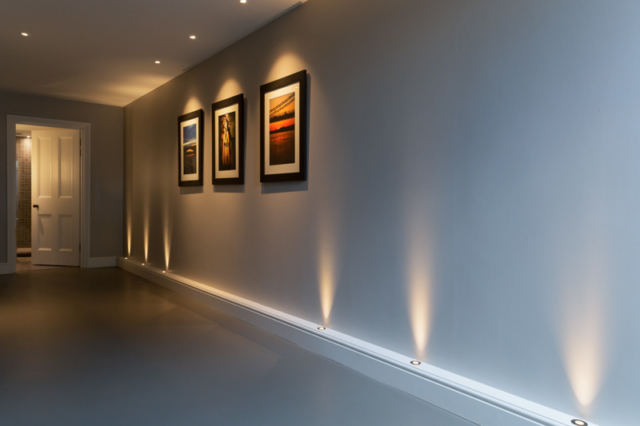 Corridor, basement, accent lighting with LED uplights and downlights