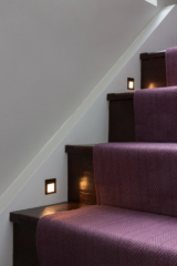 Staircase, recessed LED step lights