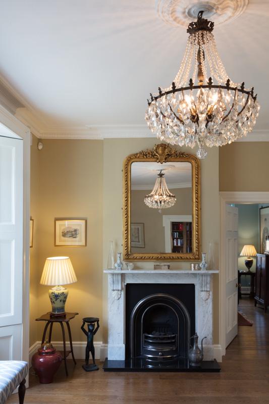 Hallway, chandelier