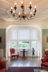 Drawing room, floor recessed LED uplights in bay window