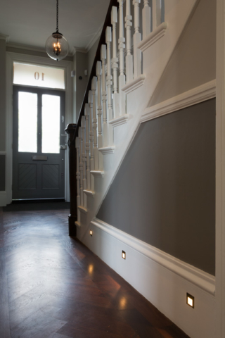 Hallway, recessed LED floor and step lights