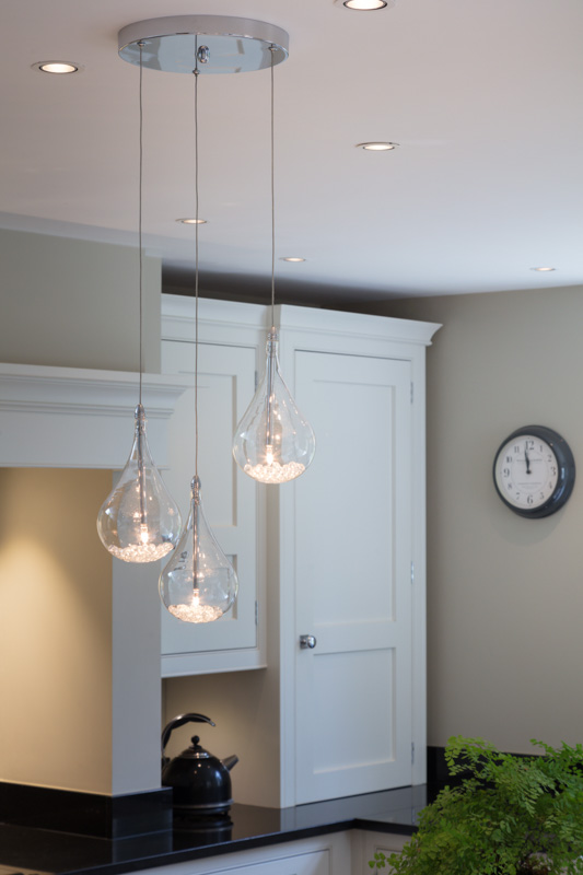Kitchen island, decorative pendants