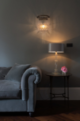 Living room, decorative table lamp and wall lamp