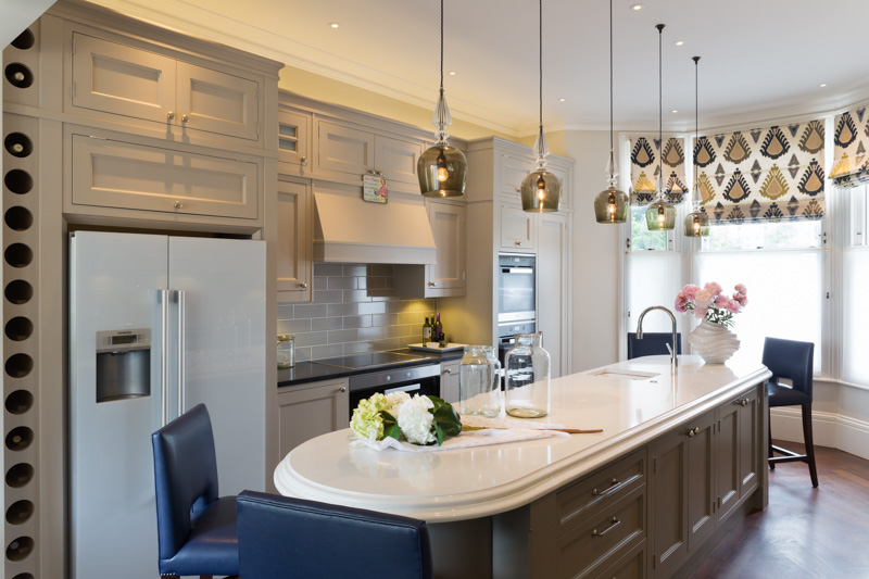 Kitchen, soft uplights effect, LED downlights and decorative glass pendants