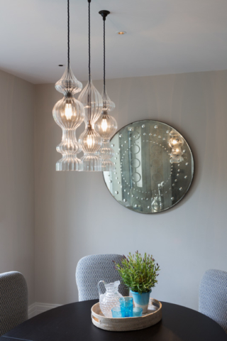 Dining area, decorative glass pendants